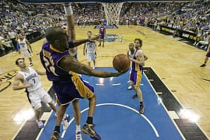 Bryant goes for the basket against the Orlando Magic during Game 5 of the NBA Finals in 2009. The Lakers won the championships defeating Orlando 99-86 for their 15th title and first since 2002.