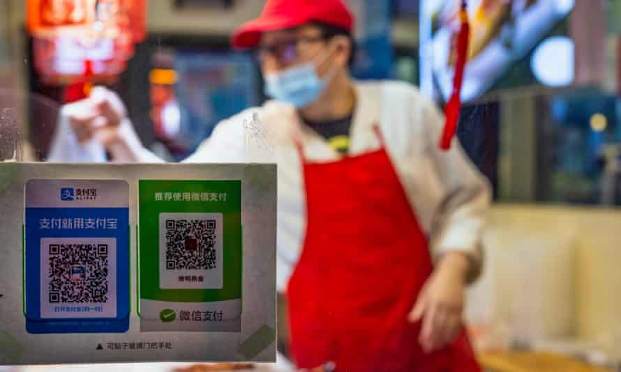 Stickers for payment with QR codes in Shanghai, China