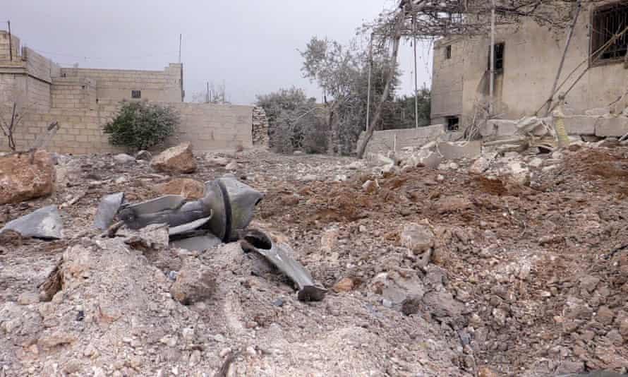Damaged buildings in Idlib