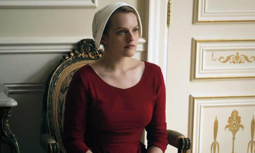 Elisabeth Moss as Offred in a scene from The Handmaid's Tale.