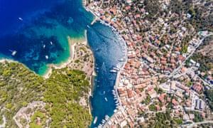 Aerial view of Gaios, Paxos