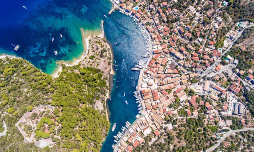 Aerial view Gaios, Paxos, Greece.