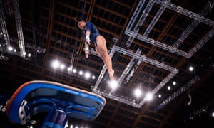 French gymnast Mélanie de Jesus dos Santos practices on the vault at the Ariake Gymnastics Centre in Tokyo on Thursday.