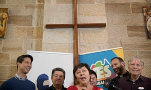 Australian Christians for Marriage Equality speak about their yes campaign on Wednesday. (L-R): Francis Voon Faith, Les Mico, Julie McCrossin, Benjamin Oh, Ben Gilmour and Keith Mascord.