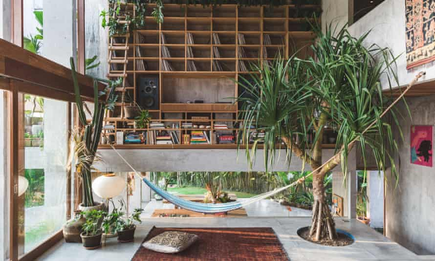 A hammock, a pandanus tree and hardwood shelving in the front room.