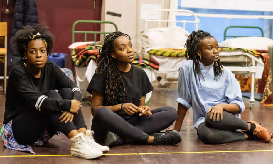 Gabrielle Brooks, Yasmin Mwanza, Pepter Lunkuse in rehearsals for Our Lady of Kibeho.