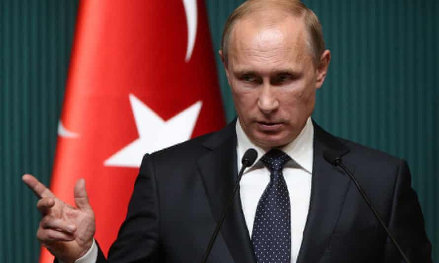Vladimir Putin speaks during a press conference in Ankara, Turkey in 2014.