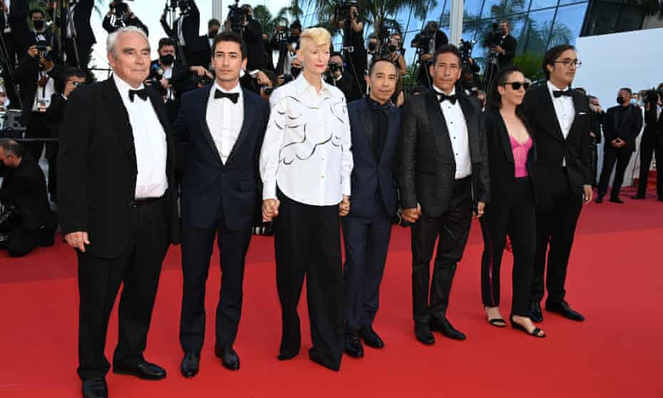 Elkin Diaz, Apichatpong Weerasethakul, Tilda Swinton and Juan Pablo Urrego attend this year's Cannes closing ceremony.