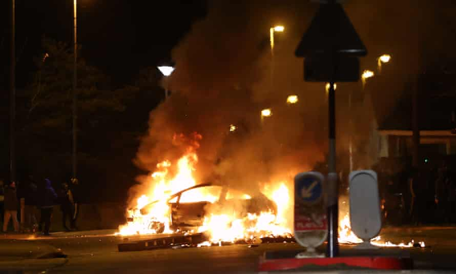 A car burns on Sperrin Park, Waterside, Londonderry, on Easter Monday.