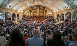 Jeremy Corbyn talks to a packed Albert Hall in Nottingham.