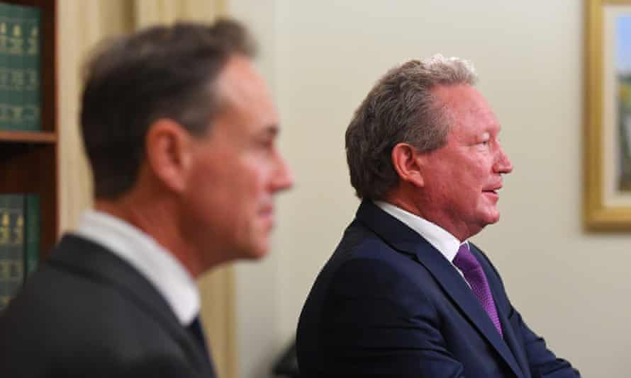 Australia's health minister Greg Hunt, left, and businessman Andrew Forrest announce a deal to secure 10m Covid-19 test kits from Beijing Genomics Institute