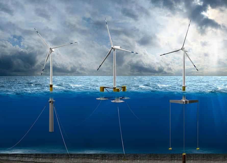 Three floating wind turbine designs: spar, semisubmersible and tension leg platforms