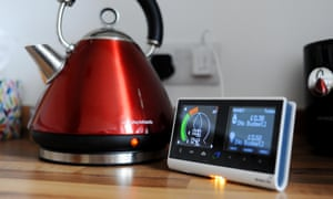 A British gas smart meter and a kettle
