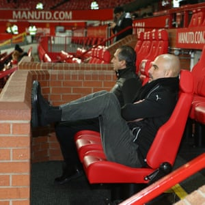 City manager Pep Guardiola notices the location well before the start of the game.