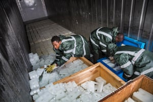 MSF staff stock icepacks in cooler containers