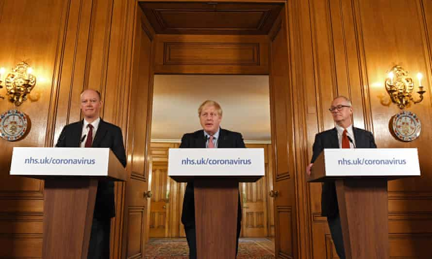 'Boris Johnson flanked by his scientific advisers [Chris Whitty, left, and Patrick Vallance, right]
