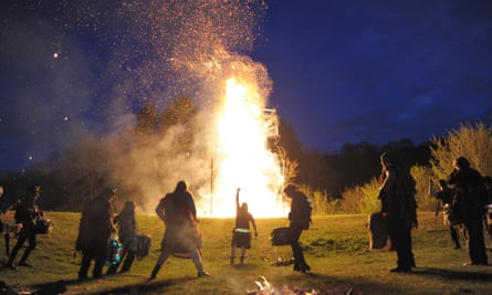 The annual burning of the wickerman during the Beltain festival at Butser Ancient Farm in Hampshire.
