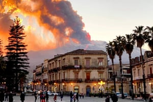 Mount Etna, Europe's most active volcano, spews ash and lava, as seen from Catania