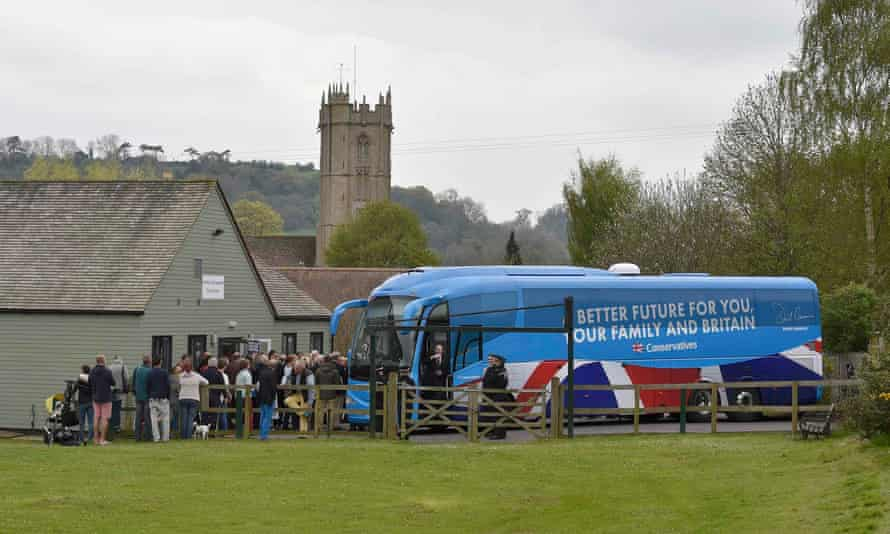 The Conservative party campaign bus during the 2015 general election campaign.