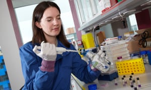 Molly Stevens pictured in 2010 working on tissue regeneration at the Royal College of Mines, London.