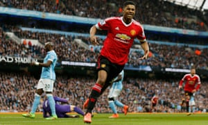 Marcus Rashford celebrates the goal that gave Manchester United victory over City in the derby.