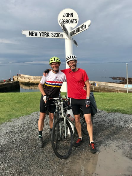 Which way next? Martin Love and Ed Marriott smiling at the end of their epic ride