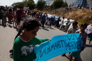 Women and children protest against the proposed new camp on Lesbos.