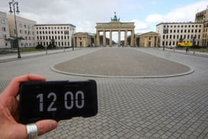 Empty scenes in front of the Brandenburg gate in Berlin, Germany