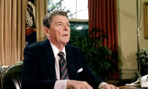 President Ronald Reagan in the Oval Office of the White House, 1986.