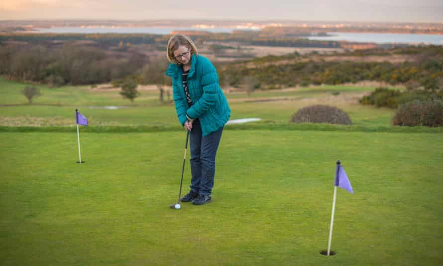 Lucy Mangan putting on the course Blyton owned.