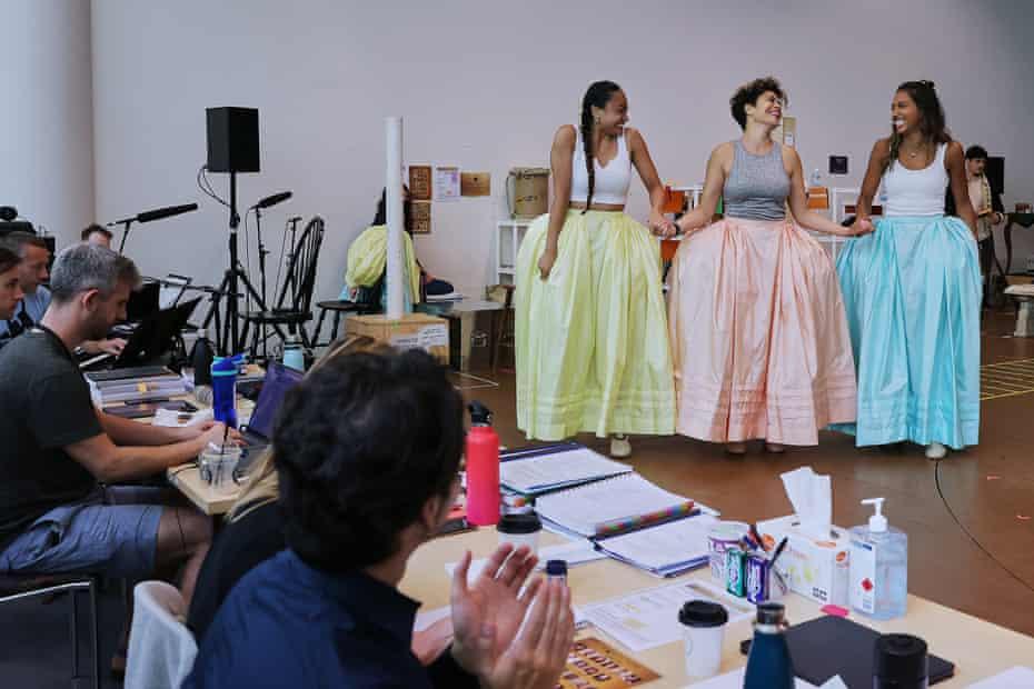 Elandrah Eramiha, Akina Edmonds and Chloé Zuel as the Schuyler sisters, in a February rehearsal of the Australian cast of Hamilton.