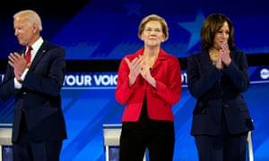 Biden, Warren and Harris at a presidential debate in Houston in September.