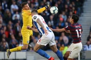 27th April: Brighton keeper Matthew Ryan is challenged by Newcastle's Yoshinori Muto.