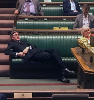 Handout picture released on the Twitter page of British Labour party MP for Redcar, Anna Turley, shows shows Britain's Leader of the House of Commons Jacob Rees-Mogg relaxing on the front benches during the Standing Order 24 emergency debate on a no-deal Brexit in the House of Commons in London on 3 September 3