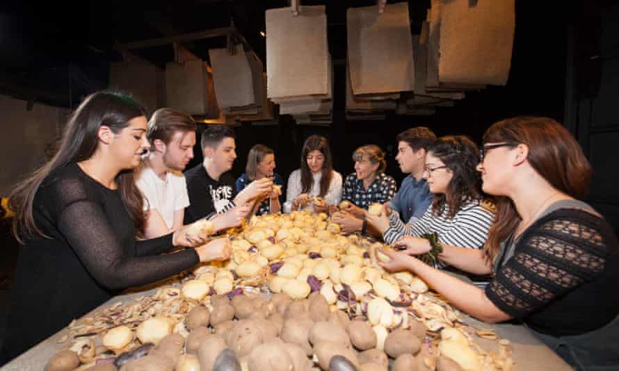 Workshoppers peel potatoes in a new pop-up home craft venture at Selfridges, called 'Our House'.