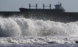 Waves crash on to Tynemouth beach in North Tyneside as Storm Aileen brings winds of up 75mph to parts of the UK.