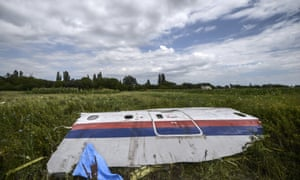 A piece of the wreckage of Malaysia Airlines flight MH17 in a field in Donetsk.
