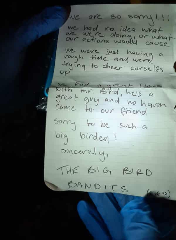 The note found in the beak of the Big Bird costume