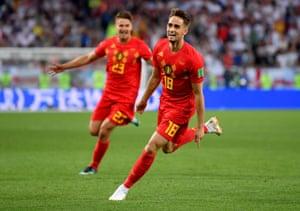 Adnan Januzaj of Belgium celebrates scoring his team's opening goal.