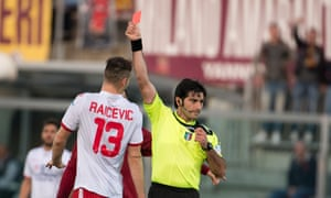 Vicenza's Filip Raicevic is shown a red card in the Serie B game against Livorno this season. From Friday referees will be able to hand out 'virtual' green cards to promote fair play.