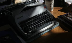 Don DeLillo's trusty Olympia typewriter in his office in New York.