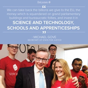 A BeLeave campaign message featuring Darren Grimes, left, and Michael Gove.