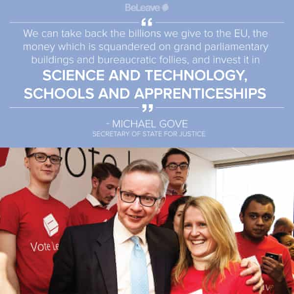 Michael Gove and Darren Grimes (back left) in BeLeave campaign material.