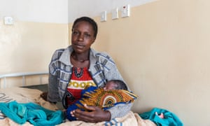 Niva Cherotich with her newborn baby Felix. Felix is benefitting from the use of chlorhexidine on his newly cut umbilical cord at Kopsiro Health Centre, Bungoma County.