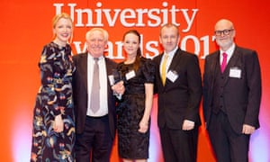 Laverne and Ian Dunn from Coventry University present the Entrepreneurship (supported by National Centre for Entrepreneurship in Education) award to Falmouth University.