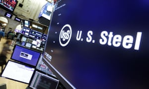The logo for U.S. Steel appears above a trading post on the floor of the New York Stock Exchange today.