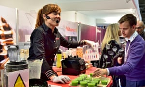 Demonstrating the Vitamix food blender