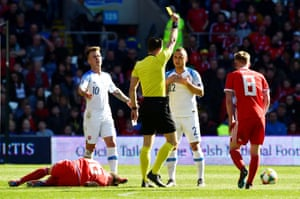 Lobotka is shown a yellow card.