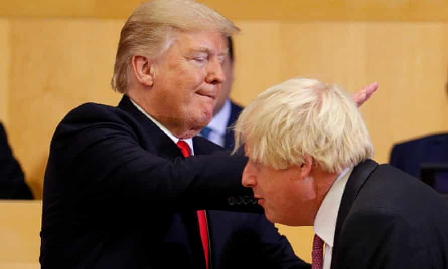 Donald Trump pats Boris Johnson on the back at the United Nations in September 2017.