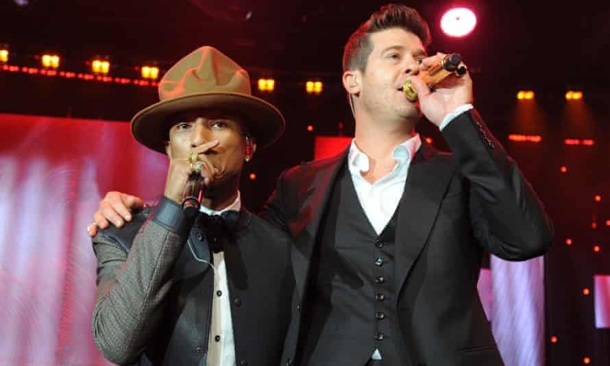 Pharrell Williams and Robin Thicke at the 2014 Grammys.